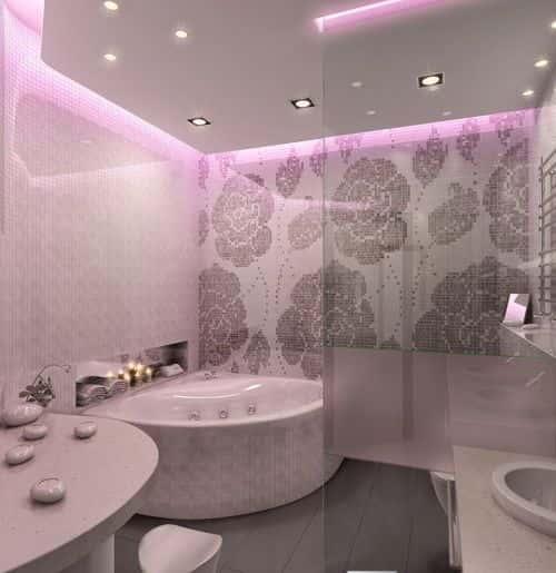 Ванная комната с угловой ванной фото