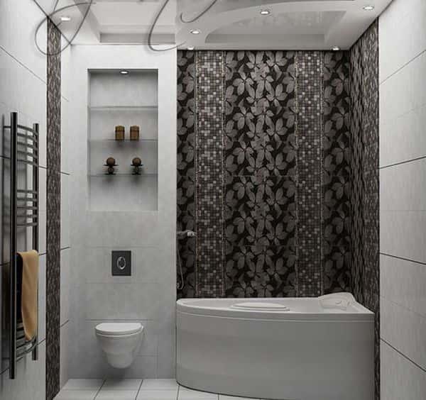 Дизайн угловой ванной комнаты в квартире