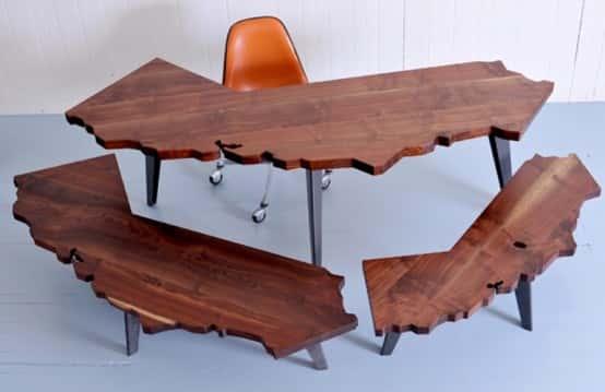 Журнальный столик из дерева необычной формы своими