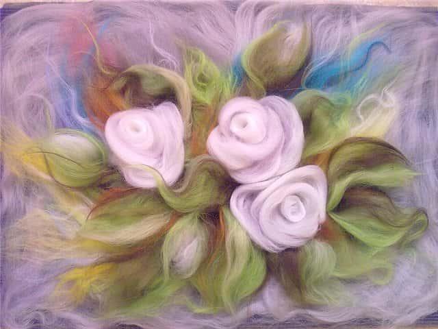 Картины шерстью цветы мастер класс фото
