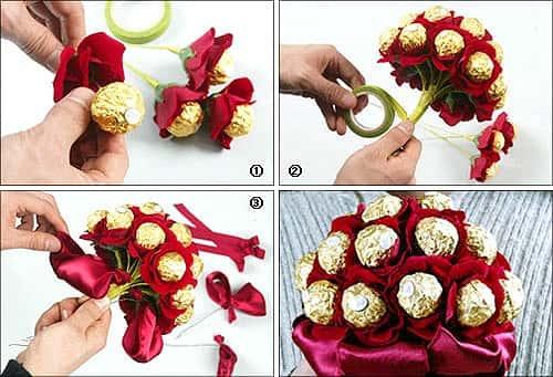 Букет из конфет своими руками пошаговое фото пионы