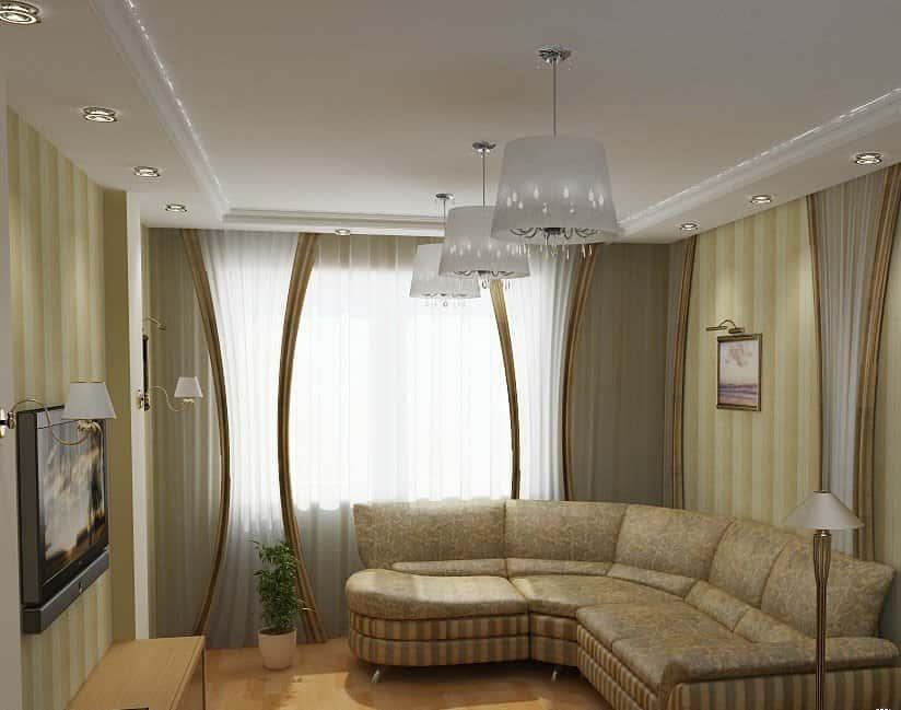 Интерьер комнаты с угловым диваном 18