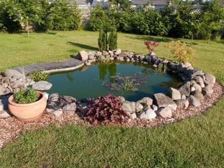 Заполнение пруда водой, его декоративная отделка и обслуживание