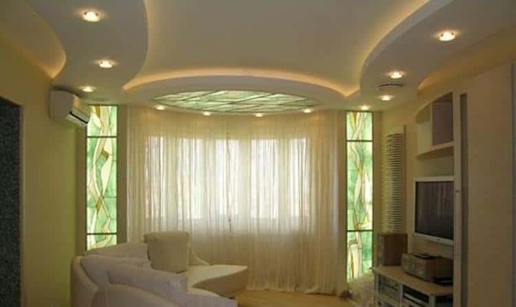 Потолок из гипсокартона дизайн фото для гостиной