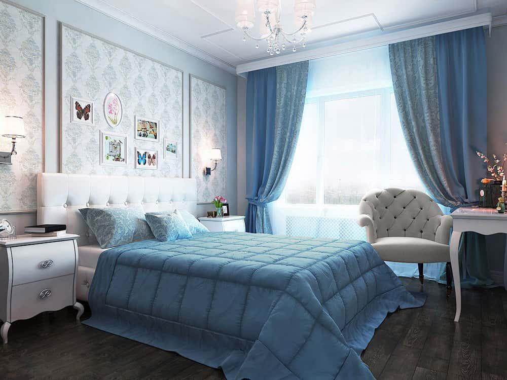 Дизайн голубая спальня фото