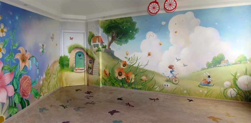 Интерьер комнаты роспись