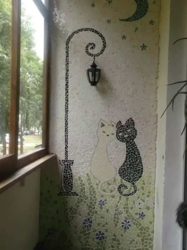 Рисунок на стене балкона фото..