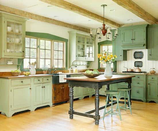 Кухня в зеленых тонах - фото интерьеров