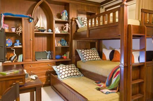 Детская комната с двухъярусной кроватью - фотографии интерьеров