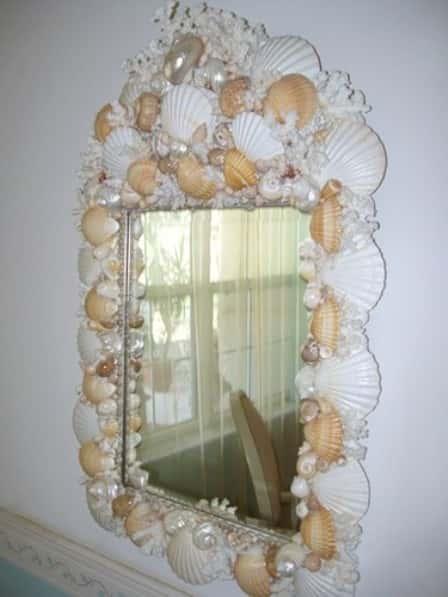 Украшение зеркал ракушками - интересные фото-идеи