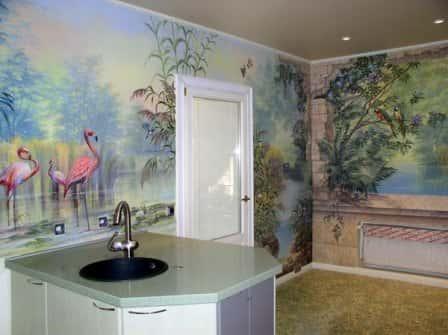 Декоративная роспись на стенах кухни