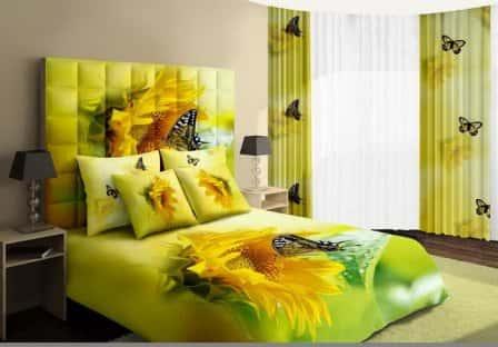 Постельное белье в интерьере спальни + фото