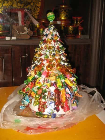 Украшаем дом - новогодние поделки из конфет