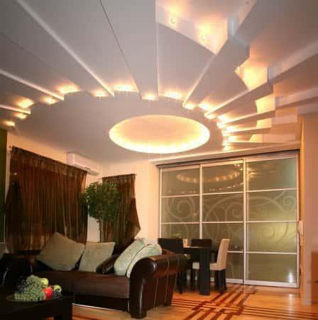 Особенности освещения потолка
