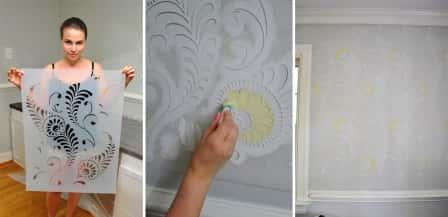 Покраска стен с трафаретом