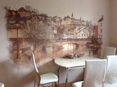 Роспись стен в интерьере разных комнат