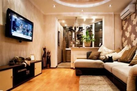 Дизайн гостиной с балконом - фото