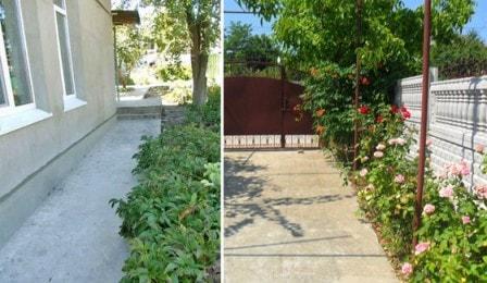 Забетонированный двор частного дома