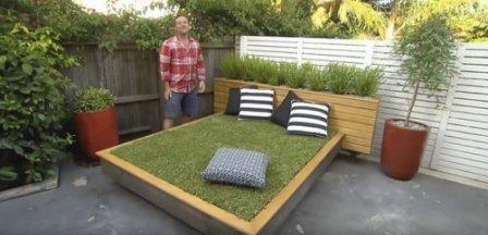 """Необычный проект ландшафтного дизайна - """"зеленая"""" кровать"""