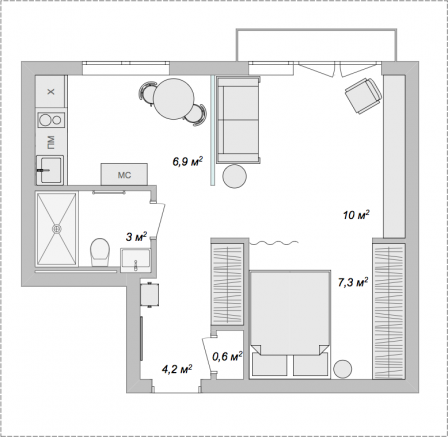 Ремонт в однокомнатной квартире 32 кв. метра