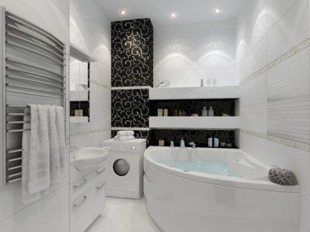 Черно-белая ванная комната - варианты дизайна