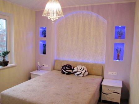 Гипсокартонные конструкции в спальне