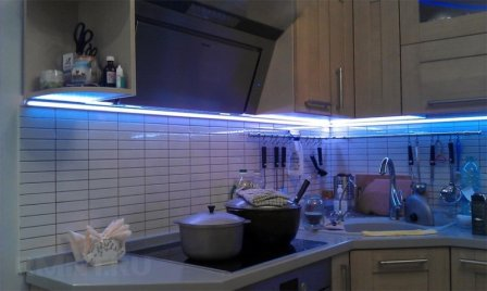 Использование светодиодной ленты в кухонном освещении