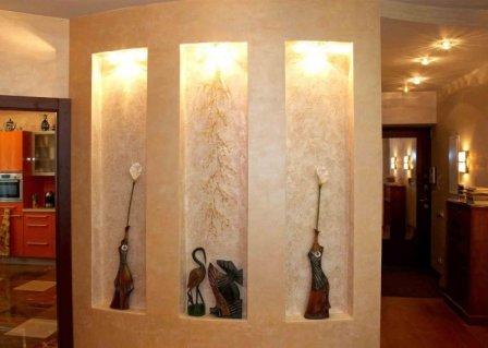 Оформление ниши в стене