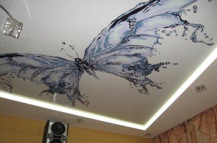 Оригинальный интерьер: натяжные потолки с фотопечатью